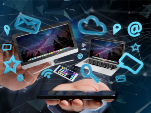 content image Devices like smartphone tablet or computer flying over connection network and app 3d render 300x225