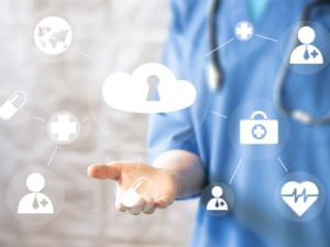 content image Doctor pushing button cloud security virtual healthcare network medicine 300x225