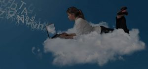 HostedPrivateCloud Hero business woman on cloud
