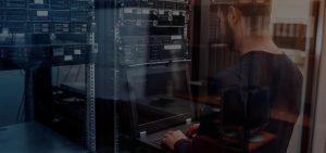 ManagedServiceProvider Hero man in server room