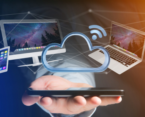 Devices like smartphone tablet or computer flying over connected cloud